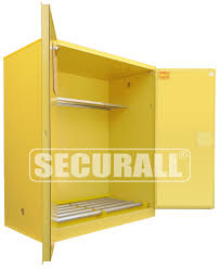 Flammable Safety Cabinet 45 Gal Yellow by Securall Hazmat Storage Drum Storage Cabinets Hazardous Waste
