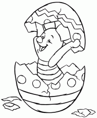 Print Piglet Hatching From Easter Egg Disney Coloring Page
