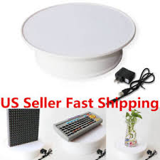 360 Rotating 8 White Anti Slip Turntable Display Stand Power By AC