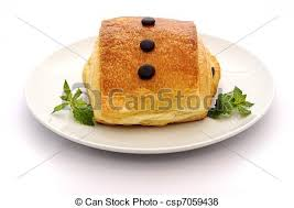 Pain Au Chocolat And Mint On A White