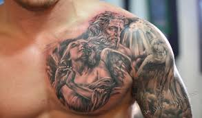 An Extraordinary Looking Chest Shoulder Arm Tattoo Body Art Imaging Some Saint