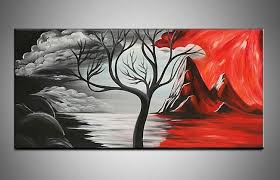 Handpainted Black White Red Beautiful Modern Abstract Decorative Oil Painting Canvas Wall Art Tree Picture For