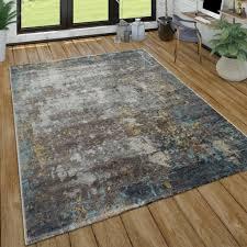 wohnzimmer teppich kurzflor im used look modernes design in grau blau grau grösse 240x340 cm