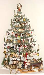40 Tall Antique Feather Tree Decorated With German Dresden Ornaments The