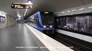 100 Karlaplan SL Tunnelbana Tg Metro Trains At Station Stockholm Sweden