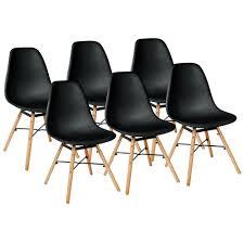 schwarz 6er set skandinavisches retro design modern stühle esszimmerstühle möbel holz stahl kunststoff schale rund für wohnzimmer esszimmer küche büro