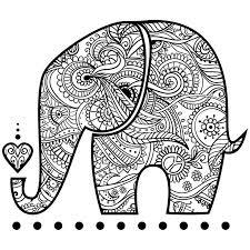 Elephant Zentangle Coloring Elephants Paint Sew Zentangles Patterns Doodles