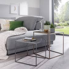 home24 living beistelltisch creerin ii 2er set eisen gold silber modern 40x45x40 cm bxhxt