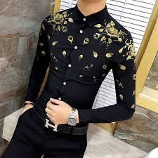 Men Dress Shirt With Gold Print Black White Long Sleeve Fashion Designer Fancy Shirts