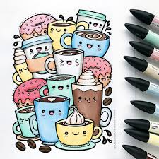 Kawaii Coffee Drawing Coloured And Donuts Doodles