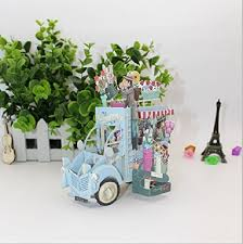 4D Valentines Day Festooned Vehicle Flower Van Truck Cart Birthday Card Paris Vintage Street Market Vendor
