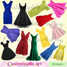 Dress Clipart Digital Dresses Fashion Clip Art Evening Ball Gown Party Prom Girl Women Clothing Lady Clothes Images Graphics From