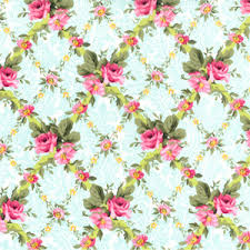 Vintage Teal Rose Lattice Fabric Pink Floral