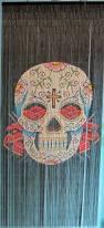 Doorway Beaded Curtains Wood by Bamboo Beaded Curtain Hand Painted Sugar Skull Bamboo Curtains