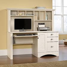 sauder harbor view antiqued white desk with hutch 158034 the