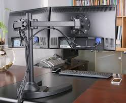 Dual Monitor Stand Up Desk by Dual Monitor Mounts For Desks Best Home Furniture Decoration