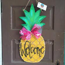 Mardi Gras Wooden Door Decorations by Summer Door Hanger Pineapple Wooden Door Hanger Wreath