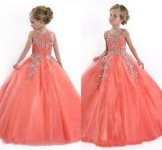 2017 peach girls pageant dresses for teens cute cupcake tulle