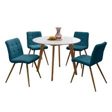 Handy Living Edgewater 5-Piece Dining Set With White Topped Round ... Brynwood White 5 Pc Round Ding Set With Blue Chairs Room Carmilla Damask Chair Espresso Wood Decor Black Contemporary With Wooden Table And Perfect Navy House Seven Design Build Shop Hanover Traditions 5piece In 4 And Farmhouse Fniture Skagen Round Table Oak Gripsholm Chair Entrancing New Roll Squire Parsons Slipcover Rectangle Brown Legs Combined Excerpt Shabby In A Range Of Styles Ireland Dfs Ideas Ikea