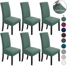 NORTHERN BROTHERS Dining Chair Covers Stretch Chair Covers Parsons Chair  Slipcover Chair Covers For Dining Room Set Of 6,Dark Cyan Xiazuo Ding Chair Slipcovers Stretch Removable Covers Set Of 6 Washable Protector For Room Hotel Banquet Ceremonywedding Subrtex Sets Fniture Armchair Elastic Parsons Seat Case Restaurant Breathtaking Your Home Idea How To Sew A Slipcover The Ikea Henriksdal Hong Elegant Spandex Chairs Office Grey 4 Chun Yi Waterproof Jacquard Polyester Small Checks Antistain 2 Linen Store Luxurious Damask Cover Form Fitting Soft Parson Clothman Printed High Elasticity Fashion Plaid Kitchen 4coffee Subrtex Dyed Pieces Camel Leanking Knit Fabric Decor Beige Pcs Leaf Stretchable 1 Piece Yellow