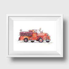 100 Fire Truck Wall Art Print Nursery Decor Toddlers Room Little