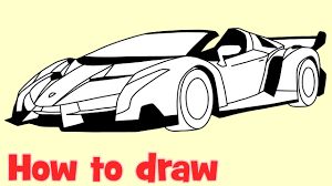 How To Draw A Car Lamborghini Veneno Roadster Step By Drawing