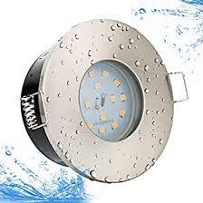 kw set bad einbaustrahler ip65 farbe edelstahl gebürstet 5watt led 450lumen kaltweiss 6000kelvin 230volt gu10 fassung inklusive für badezimmer