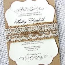 Lace Burlap Wedding Invitation Rustic Die Cut Invitations Ornate Diy
