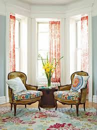 Living Room Curtain Ideas For Bay Windows by Vintage Living Room Themed Feat Floral Accents Rugs Plus Perfect