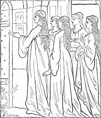 10 Virgins Bible Story Coloring Page
