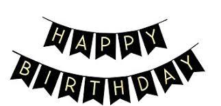 Amazon Fecedy Black Happy Birthday Bunting Banner with Shiny