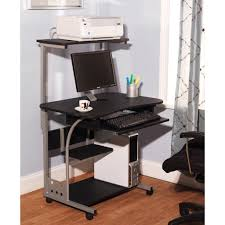 Small Black Computer Desk Walmart by Small Compact Mobile Portable Computer Tower With Shelf Desk With