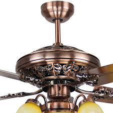 blade 6 lights bronze shabby chic ceiling fans with lights