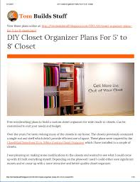 diy closet organizer plans for 5 u0027 to 8 u0027 closet