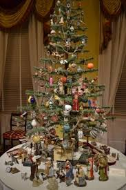 Victorian Ornaments On Feather Tree With Creche Beneath Antique Christmas Past Holidays