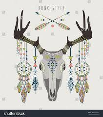 Vector Deer Skull Rustic AntlersTribal Style Arrows Dream Catchers Navajo