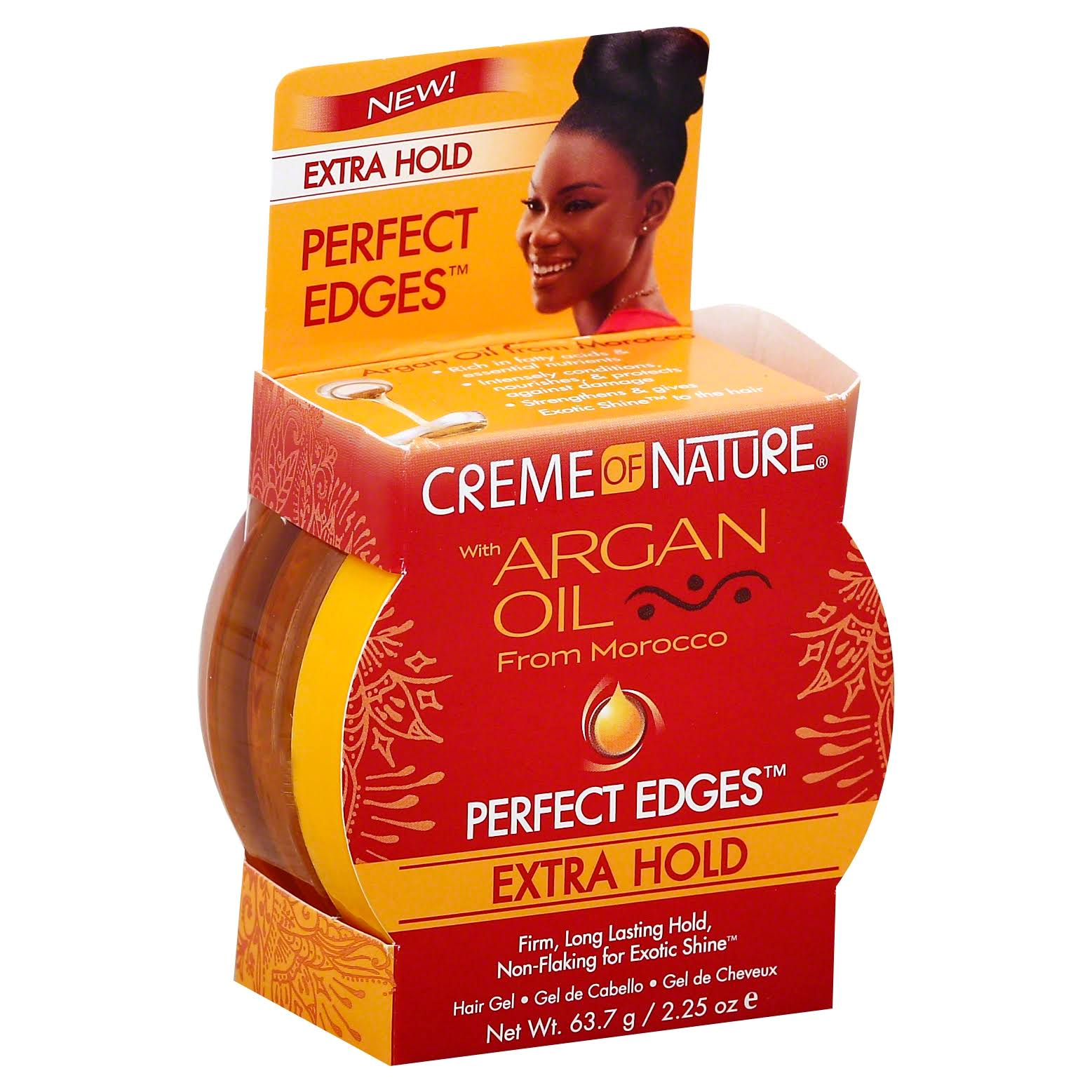 Creme Of Nature Argan Oil Edge Control Hair Gel, Extra Hold - 2.25 oz jar