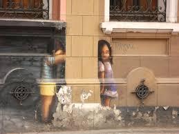 Children Boy Girl Hide And Seek Street Art On Wall