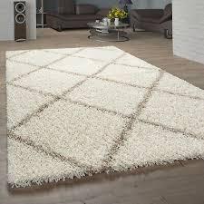teppich wohnzimmer hochflor shaggy skandi design mit rauten