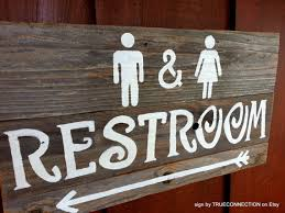 Sign Outdoor Restroom Wedding Rustic Signs House Bathroom