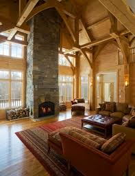 Living Room With High Ceiling And Arched Windows View
