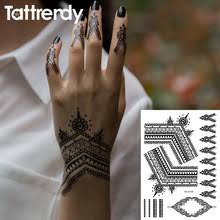 2018 Most Popular Black Henna Tattoos Flash Temporary Waterproof Lace Trendy Inspired Body Tattoo Stickers Indian