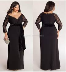 black plus size lace long sleeve sheath chiffon evening dresses v
