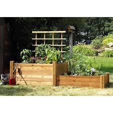 gronomics deluxe raised garden bed 3 pk with trellis
