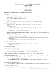 Physical Education Resume Objective Pe Teacher Sample PE Objectives
