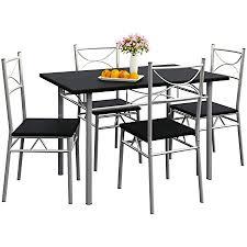 casaria 5 tlg sitzgruppe paul esstisch mit 4 stühlen schwarz für esszimmer küche essgruppe küchentisch tisch stuhl set