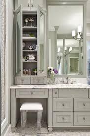 Gray Bath Vanity With Lucite Stool