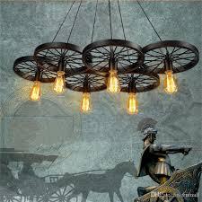 Edison Chandelier Pendant Lamp Retro American Industrial Loft Light Bicycle Wheels Lights E27 Vintage Bulb ST64