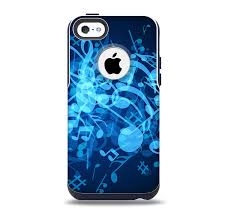 The Glowing Blue Music Notes Skin for the iPhone 5c OtterBox