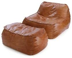 Rust Leather Bean Bag Lounge Chair Ottoman Contemporary Chairs